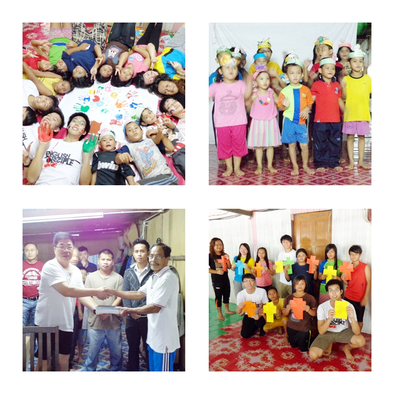 Top LR Clockwise - The SMCGC team with the kids, Kids doing a presentation, With the youths, GMC M & E Richard Lin presents bibles to the Rumah Tuai
